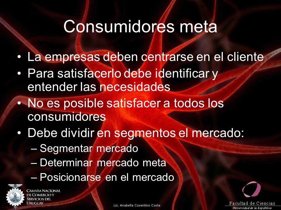 Consumidores meta La empresas deben centrarse en el cliente