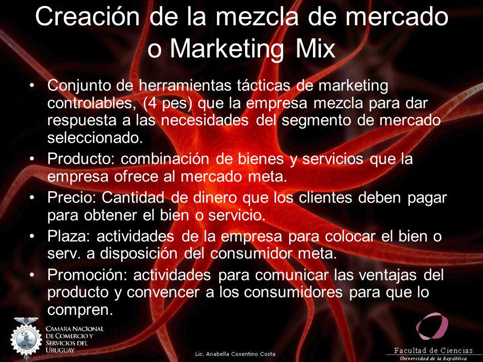 Creación de la mezcla de mercado o Marketing Mix