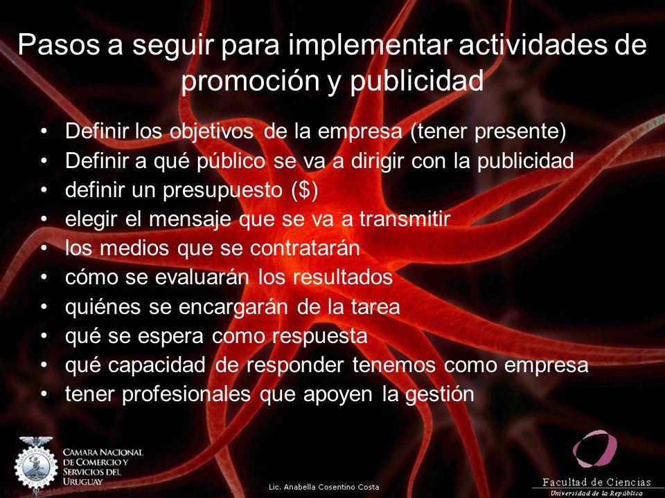 Pasos a seguir para implementar actividades de promoción y publicidad