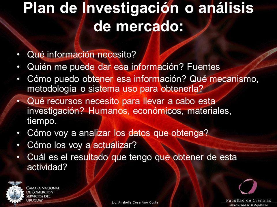 Plan de Investigación o análisis de mercado: