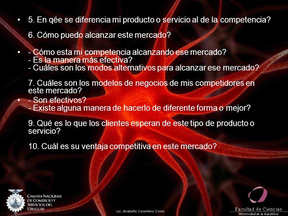 5. En qée se diferencia mi producto o servicio al de la competencia. 6
