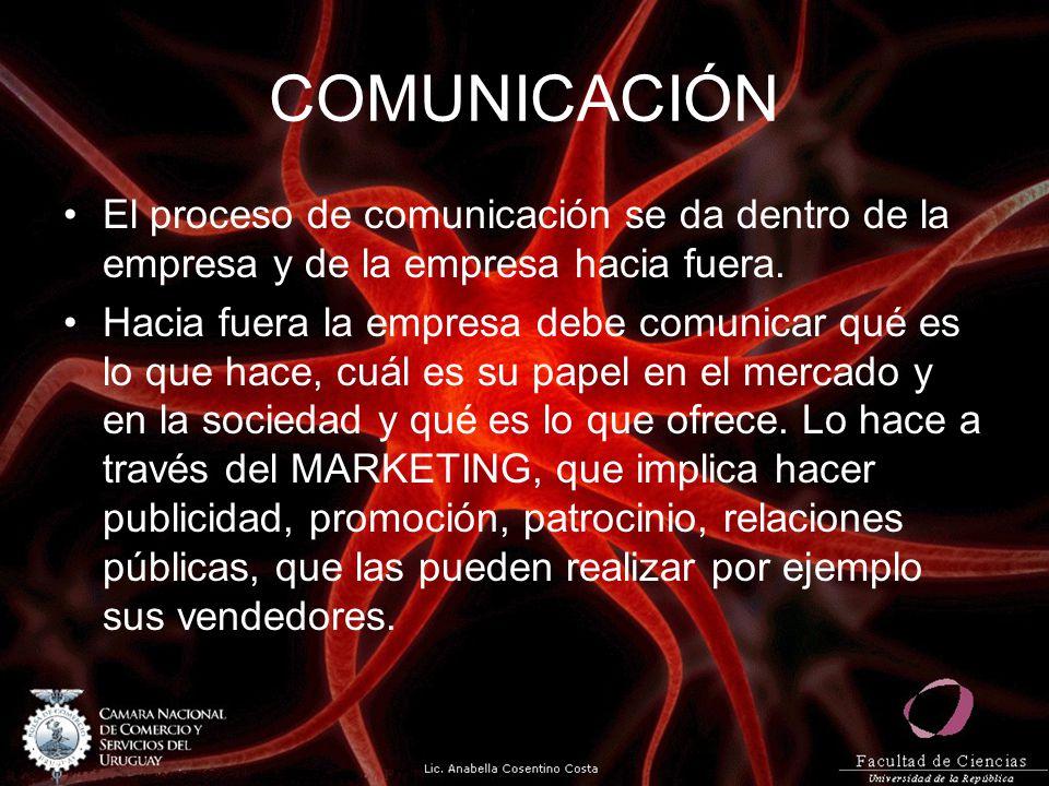 COMUNICACIÓN El proceso de comunicación se da dentro de la empresa y de la empresa hacia fuera.