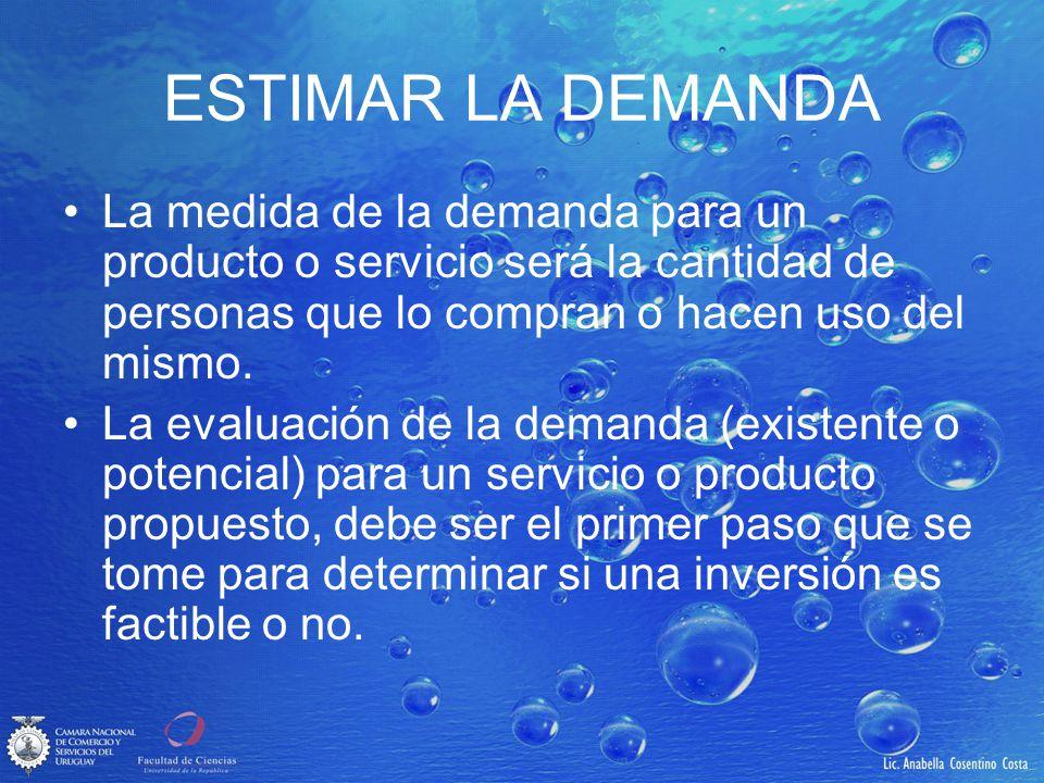ESTIMAR LA DEMANDA La medida de la demanda para un producto o servicio será la cantidad de personas que lo compran o hacen uso del mismo.
