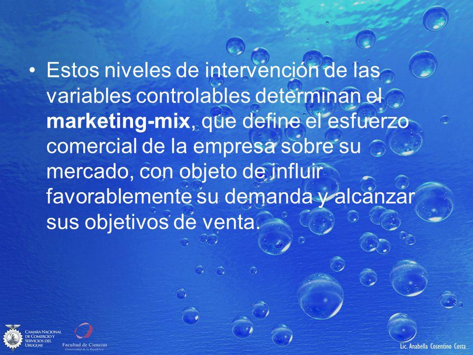 Estos niveles de intervención de las variables controlables determinan el marketing-mix, que define el esfuerzo comercial de la empresa sobre su mercado, con objeto de influir favorablemente su demanda y alcanzar sus objetivos de venta.