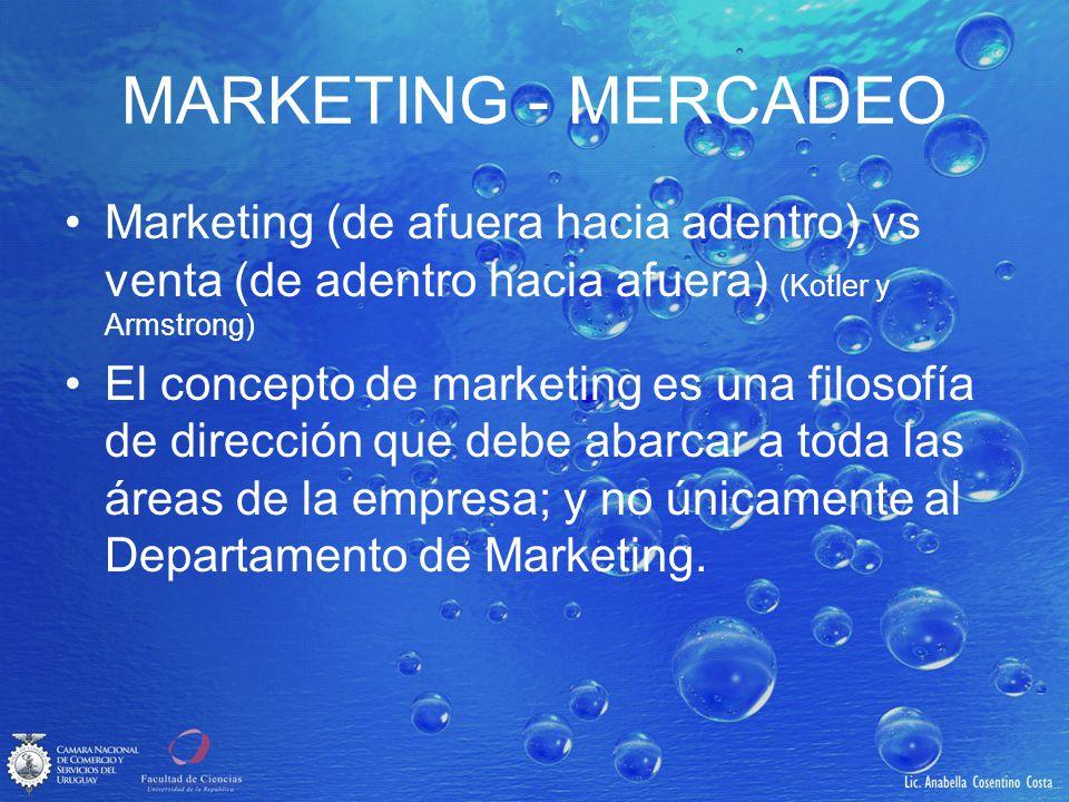 MARKETING - MERCADEO Marketing (de afuera hacia adentro) vs venta (de adentro hacia afuera) (Kotler y Armstrong)