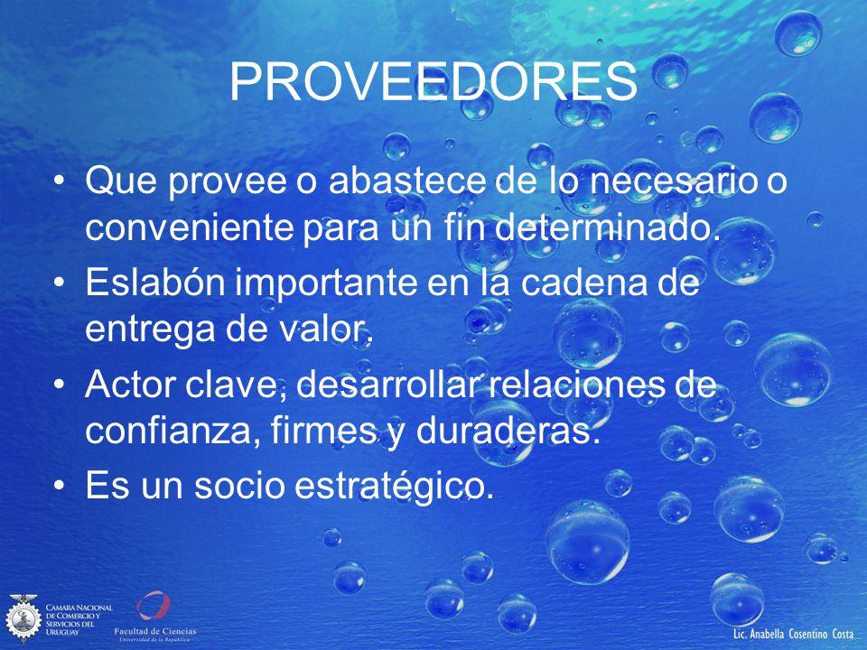 PROVEEDORES Que provee o abastece de lo necesario o conveniente para un fin determinado. Eslabón importante en la cadena de entrega de valor.
