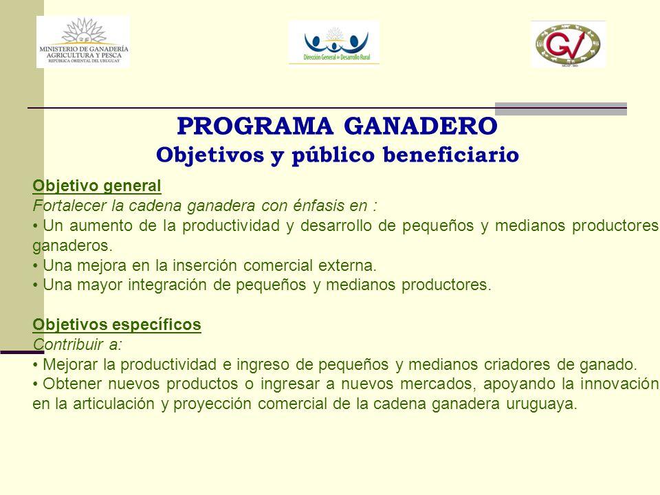 PROGRAMA GANADERO Objetivos y público beneficiario