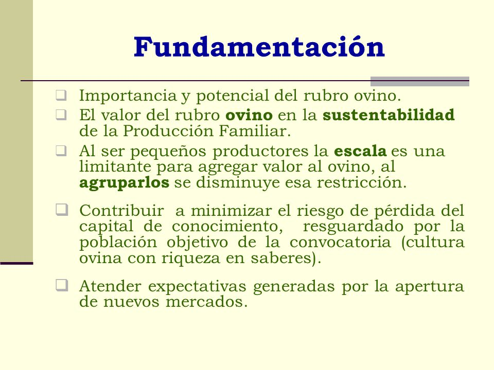 Fundamentación Importancia y potencial del rubro ovino.