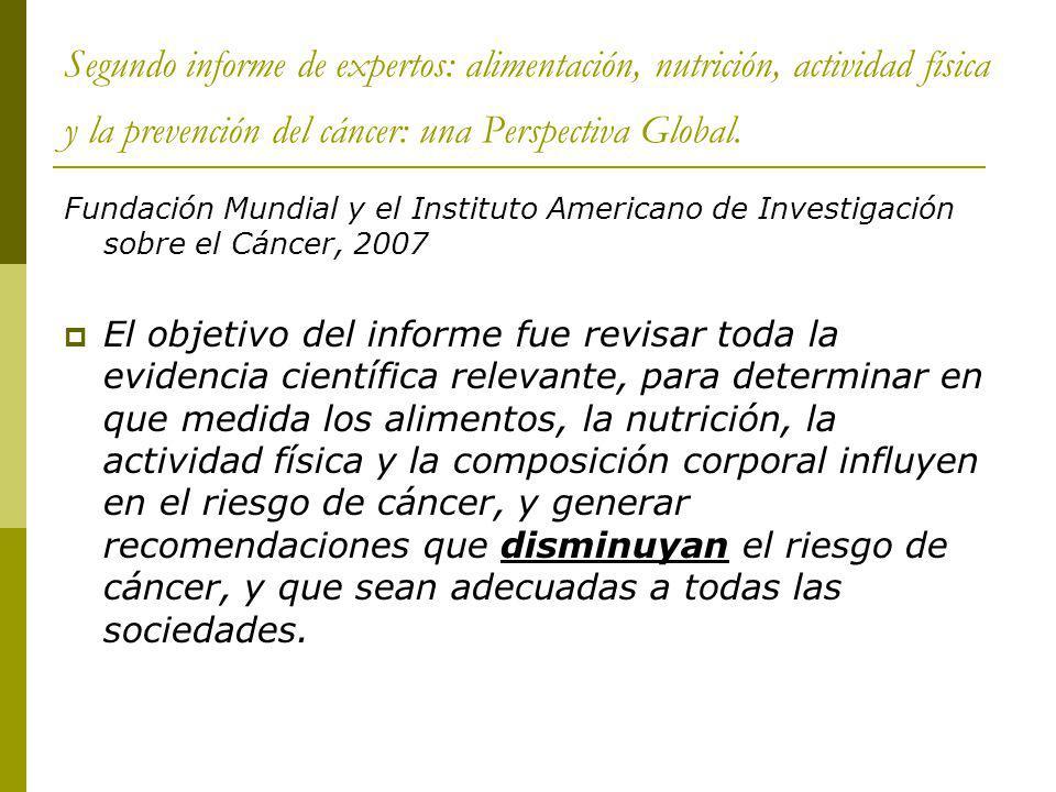Segundo informe de expertos: alimentación, nutrición, actividad física y la prevención del cáncer: una Perspectiva Global.
