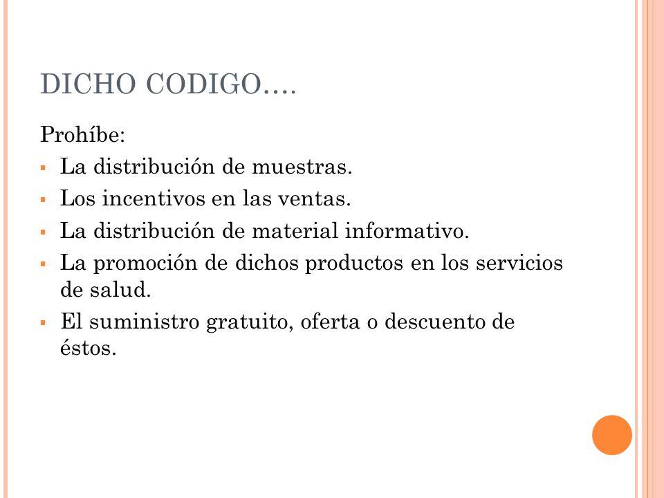DICHO CODIGO…. Prohíbe: La distribución de muestras.
