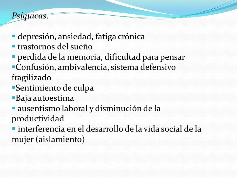 Psíquicas: depresión, ansiedad, fatiga crónica. trastornos del sueño. pérdida de la memoria, dificultad para pensar.