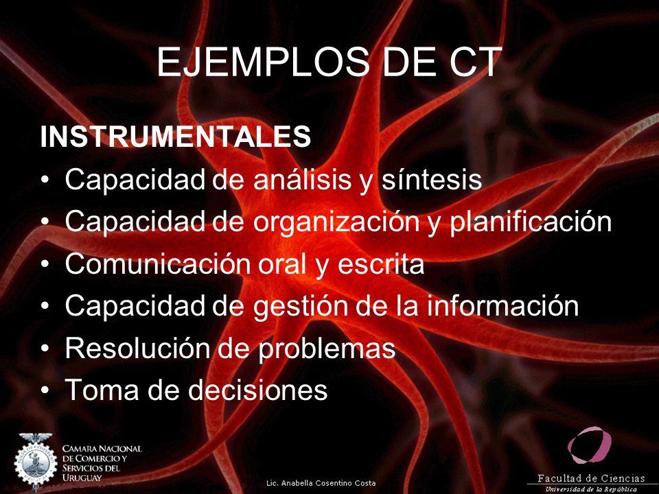 EJEMPLOS DE CT INSTRUMENTALES Capacidad de análisis y síntesis