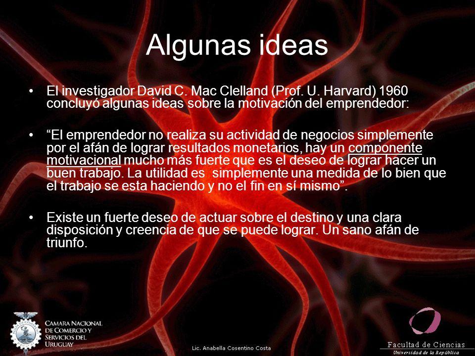 Algunas ideas El investigador David C. Mac Clelland (Prof. U. Harvard) 1960 concluyó algunas ideas sobre la motivación del emprendedor: