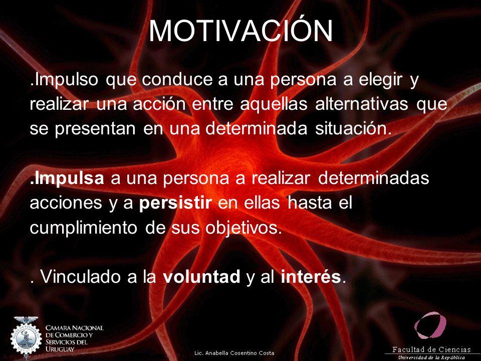 MOTIVACIÓN .Impulso que conduce a una persona a elegir y