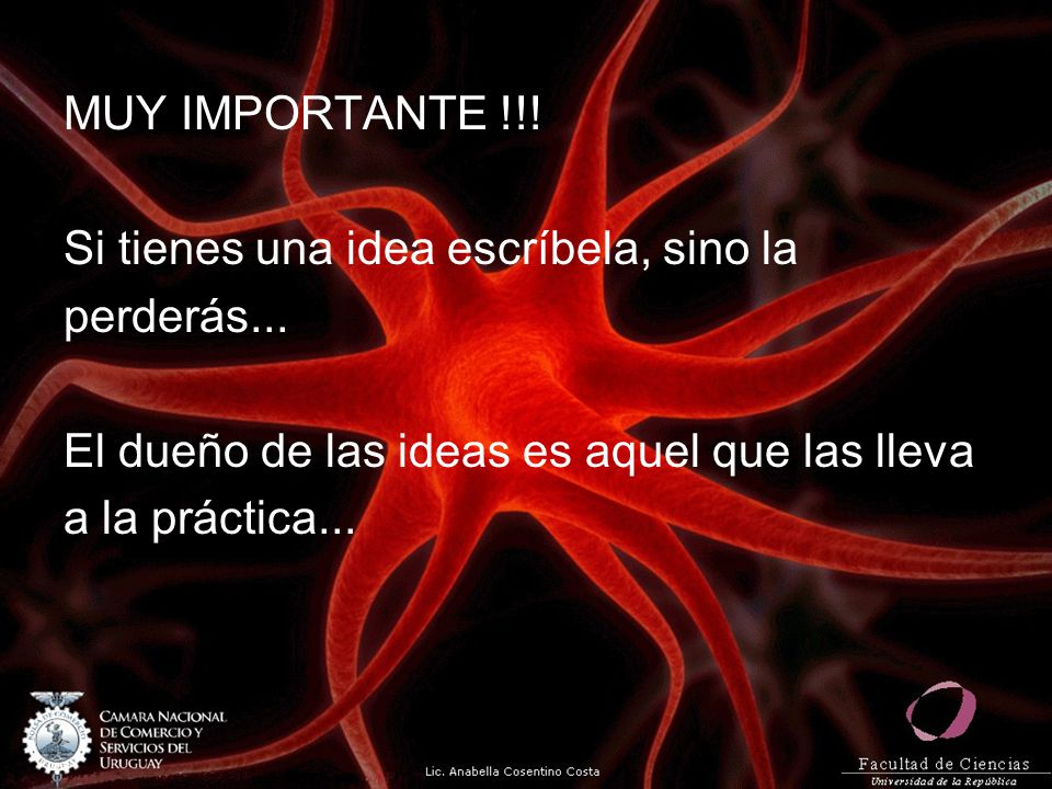 MUY IMPORTANTE !!! Si tienes una idea escríbela, sino la. perderás... El dueño de las ideas es aquel que las lleva.