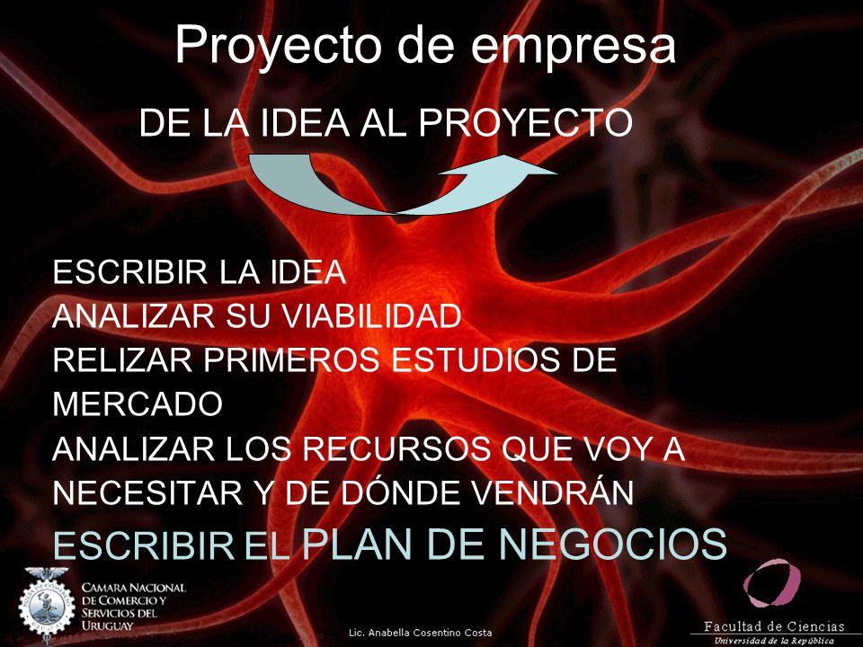 Proyecto de empresa DE LA IDEA AL PROYECTO