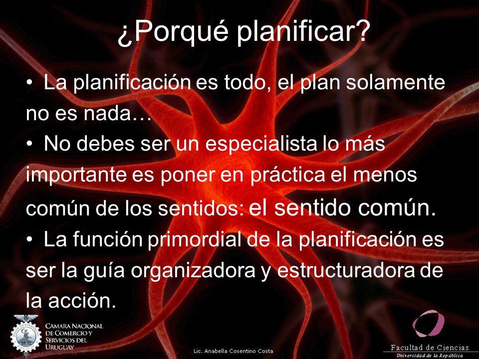 ¿Porqué planificar La planificación es todo, el plan solamente