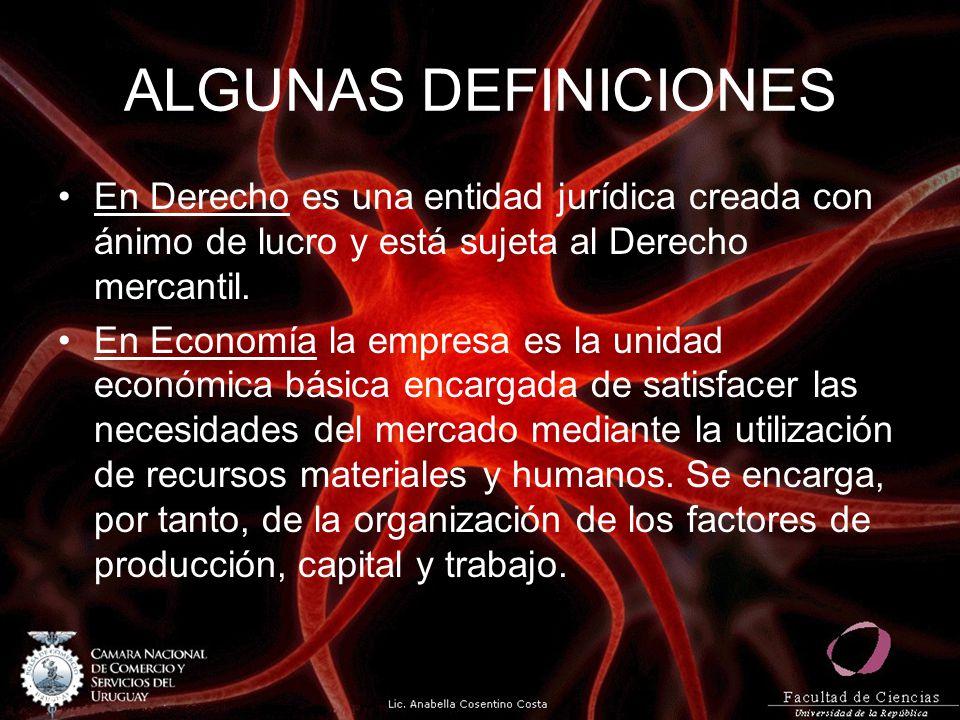 ALGUNAS DEFINICIONES En Derecho es una entidad jurídica creada con ánimo de lucro y está sujeta al Derecho mercantil.