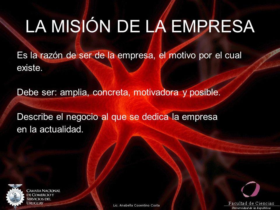 LA MISIÓN DE LA EMPRESA Es la razón de ser de la empresa, el motivo por el cual. existe. Debe ser: amplia, concreta, motivadora y posible.