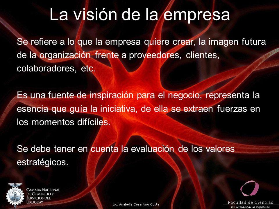 La visión de la empresa Se refiere a lo que la empresa quiere crear, la imagen futura. de la organización frente a proveedores, clientes,