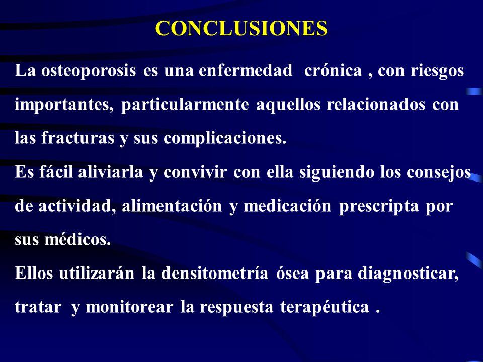 CONCLUSIONES La osteoporosis es una enfermedad crónica , con riesgos