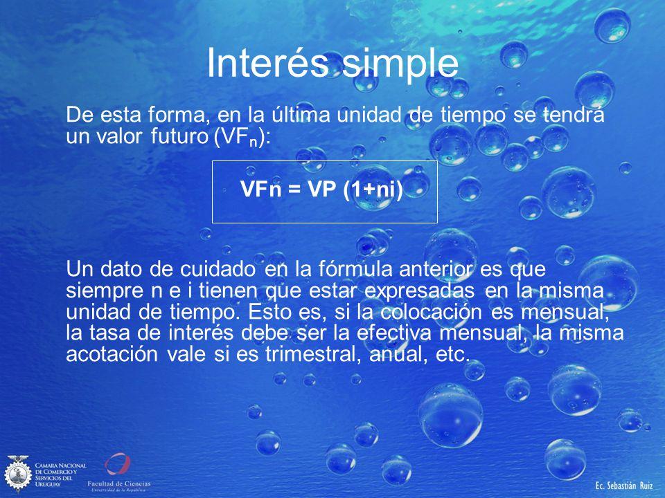 Interés simple De esta forma, en la última unidad de tiempo se tendrá un valor futuro (VFn): VFn = VP (1+ni)