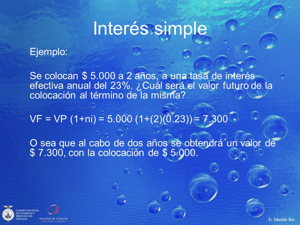 Interés simple Ejemplo: