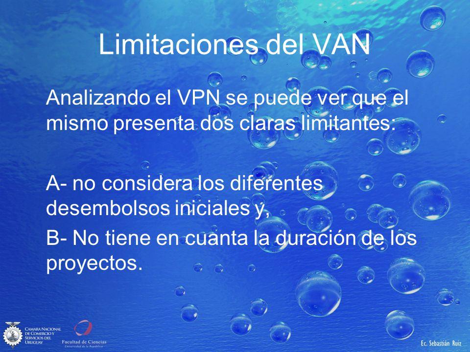 Limitaciones del VAN Analizando el VPN se puede ver que el mismo presenta dos claras limitantes: