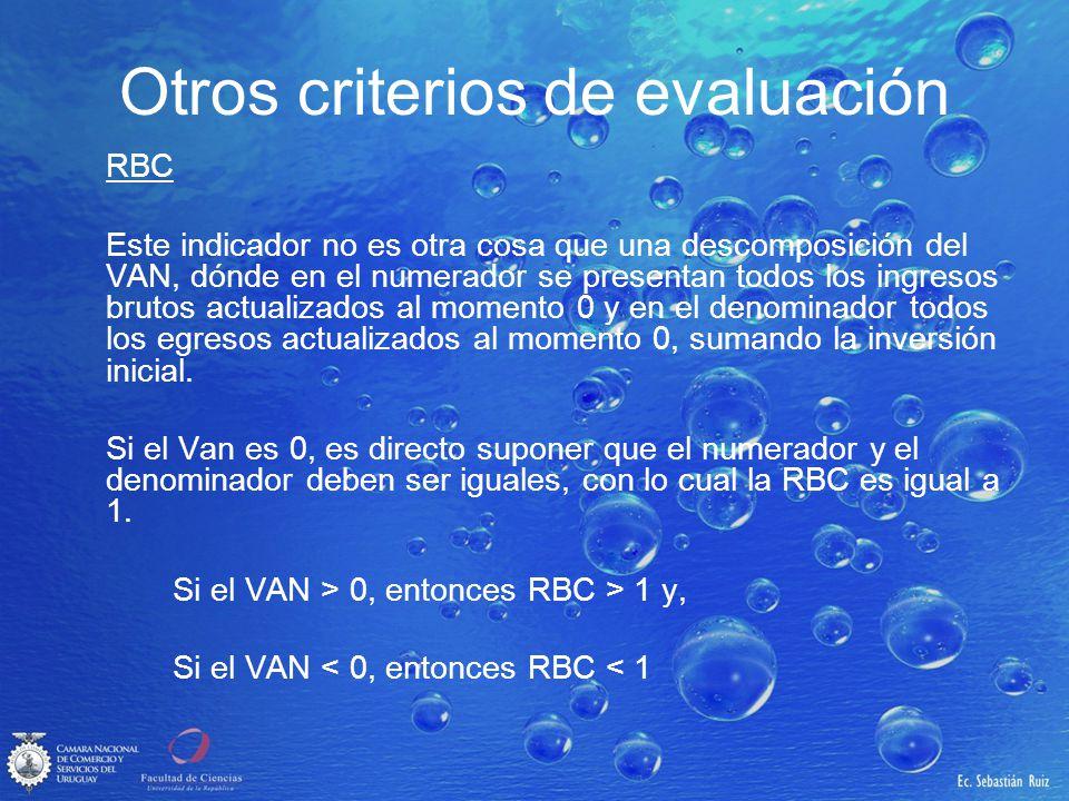 Otros criterios de evaluación