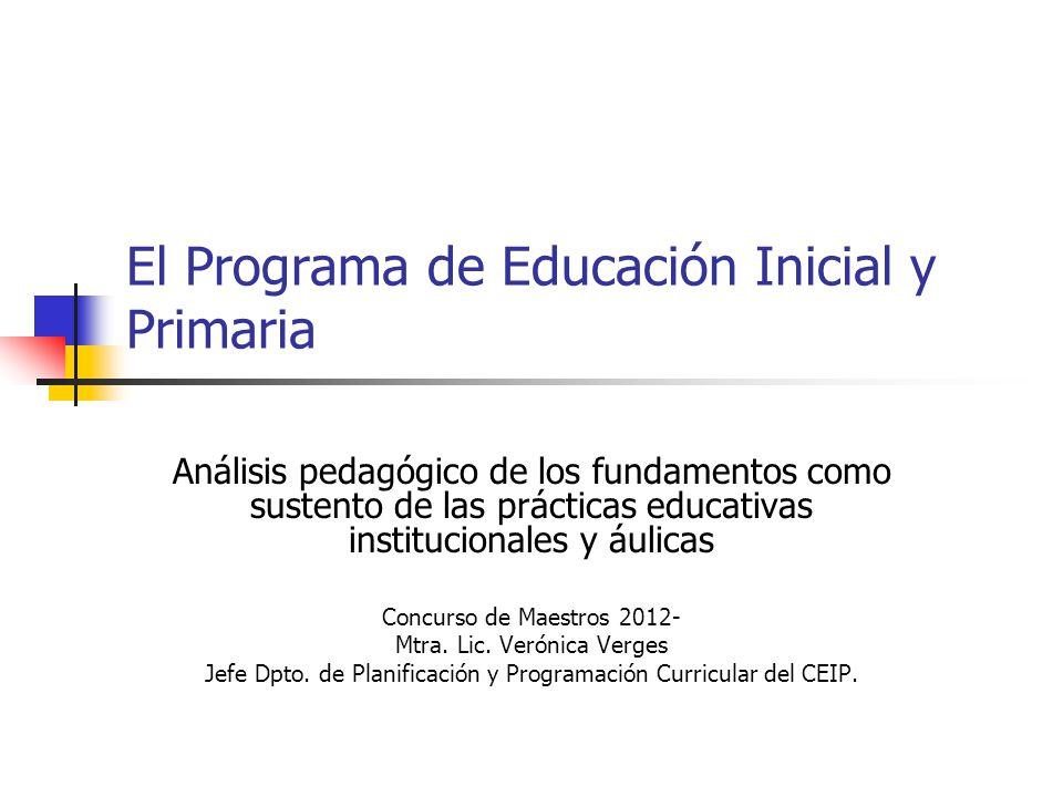 El Programa de Educación Inicial y Primaria