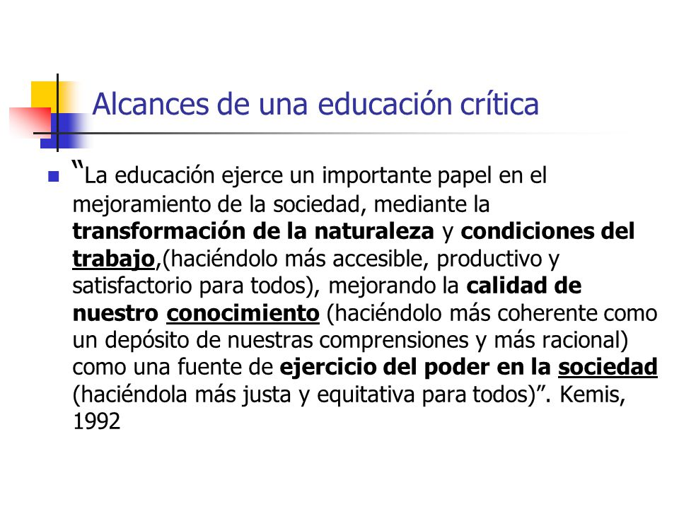 Alcances de una educación crítica