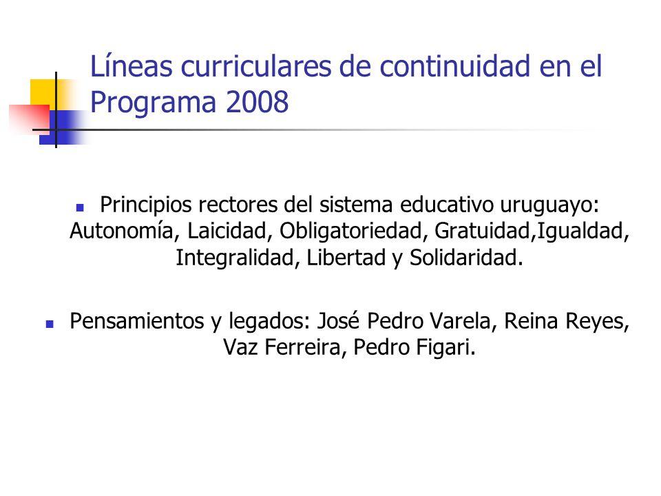 Líneas curriculares de continuidad en el Programa 2008