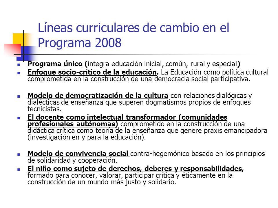 Líneas curriculares de cambio en el Programa 2008