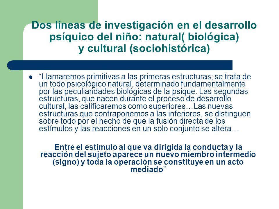 Dos líneas de investigación en el desarrollo psíquico del niño: natural( biológica) y cultural (sociohistórica)