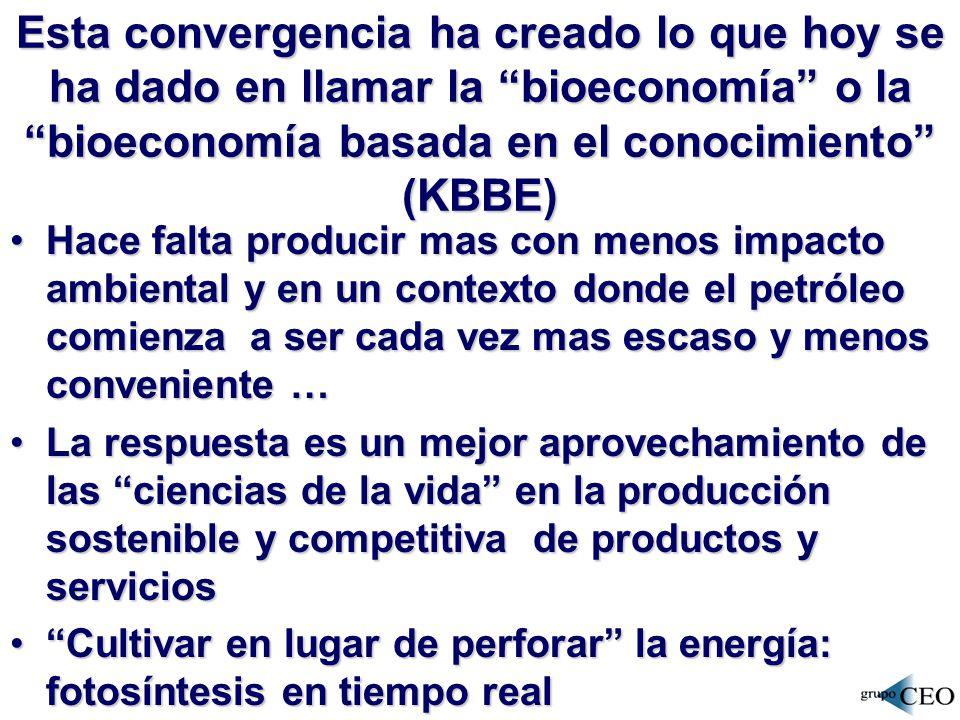Esta convergencia ha creado lo que hoy se ha dado en llamar la bioeconomía o la bioeconomía basada en el conocimiento (KBBE)