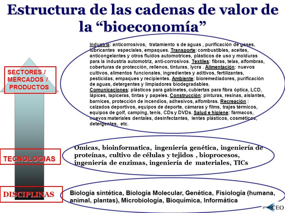 Estructura de las cadenas de valor de la bioeconomía