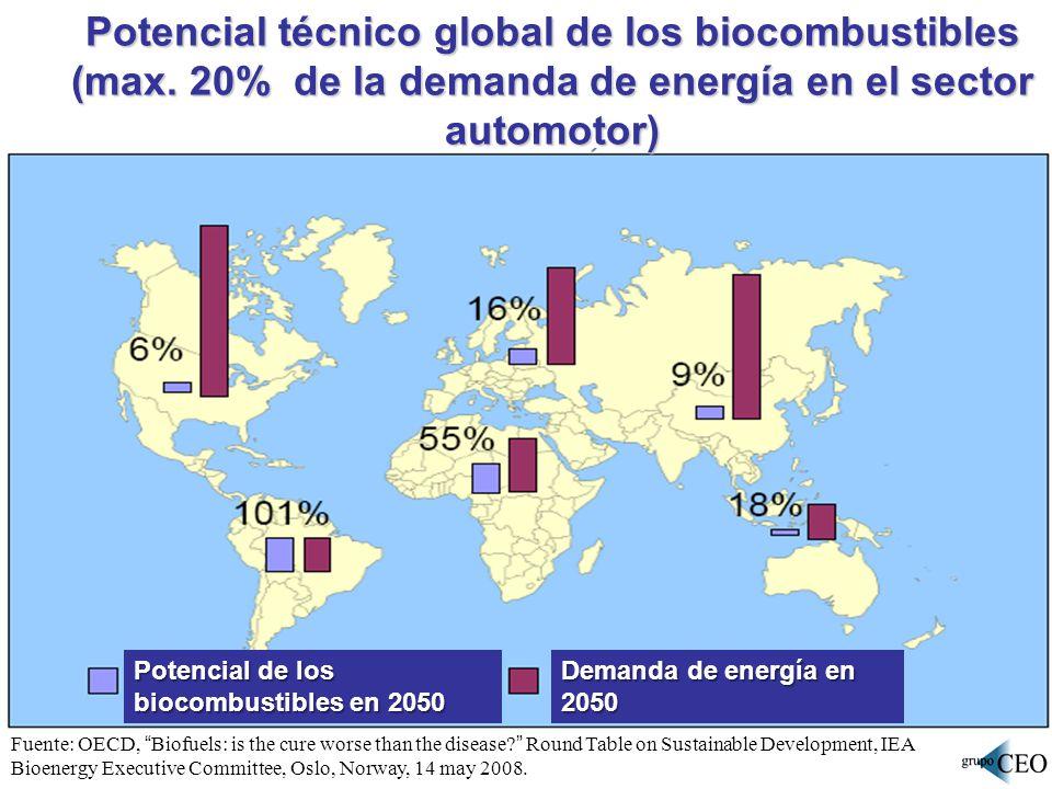 Potencial técnico global de los biocombustibles (max