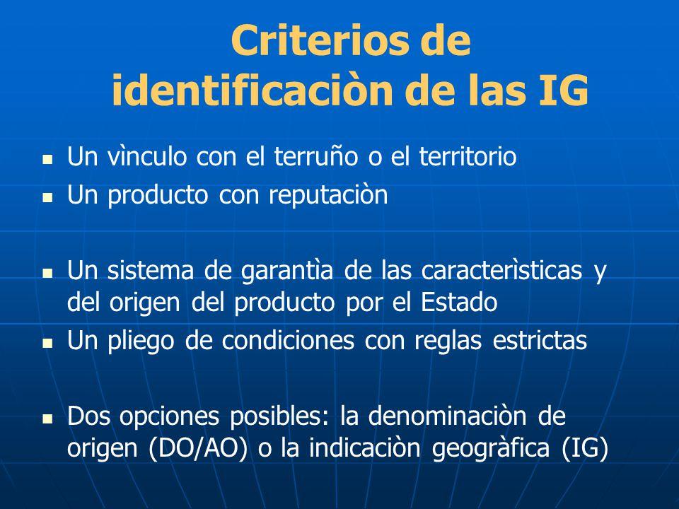 Criterios de identificaciòn de las IG