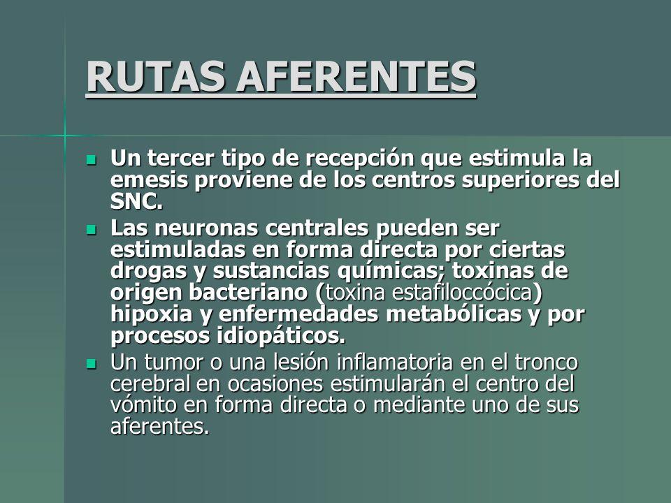 RUTAS AFERENTES Un tercer tipo de recepción que estimula la emesis proviene de los centros superiores del SNC.