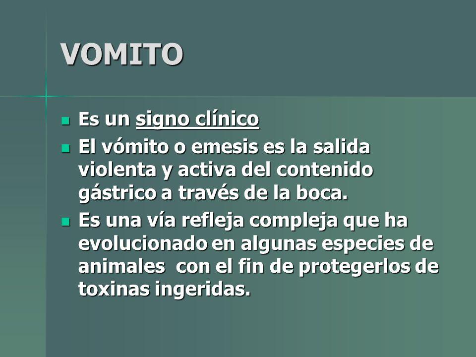 VOMITO Es un signo clínico. El vómito o emesis es la salida violenta y activa del contenido gástrico a través de la boca.