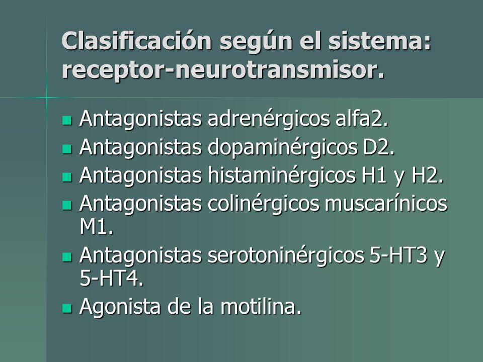Clasificación según el sistema: receptor-neurotransmisor.