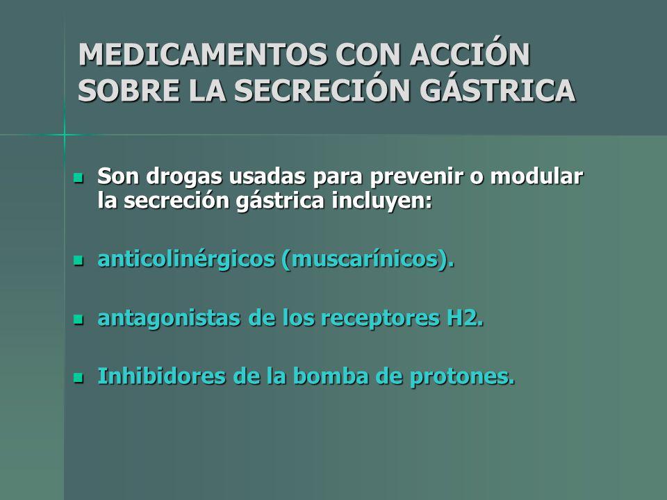 MEDICAMENTOS CON ACCIÓN SOBRE LA SECRECIÓN GÁSTRICA