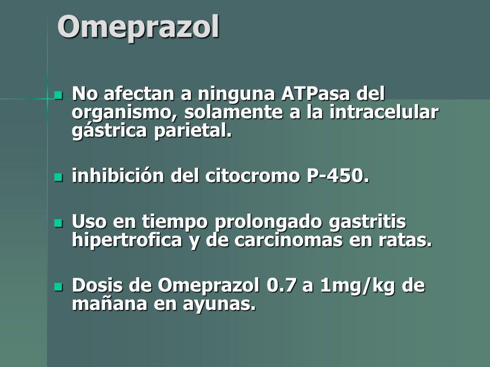 Omeprazol No afectan a ninguna ATPasa del organismo, solamente a la intracelular gástrica parietal.