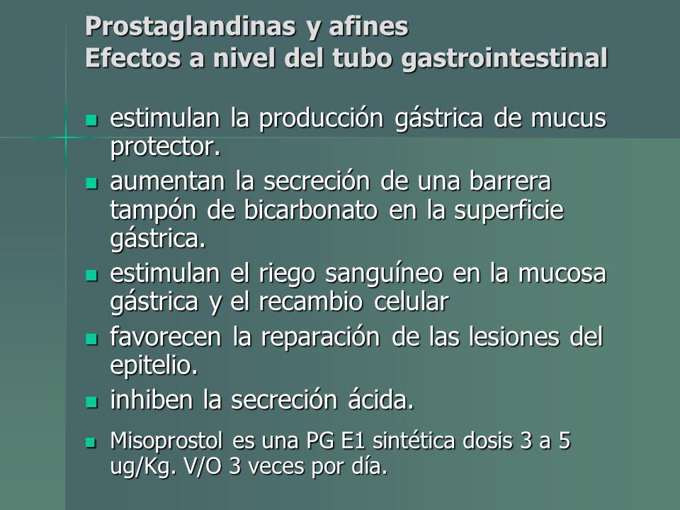 Prostaglandinas y afines Efectos a nivel del tubo gastrointestinal