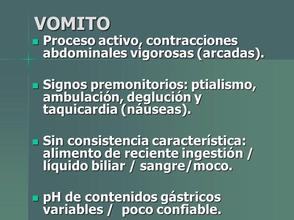 VOMITO Proceso activo, contracciones abdominales vigorosas (arcadas).