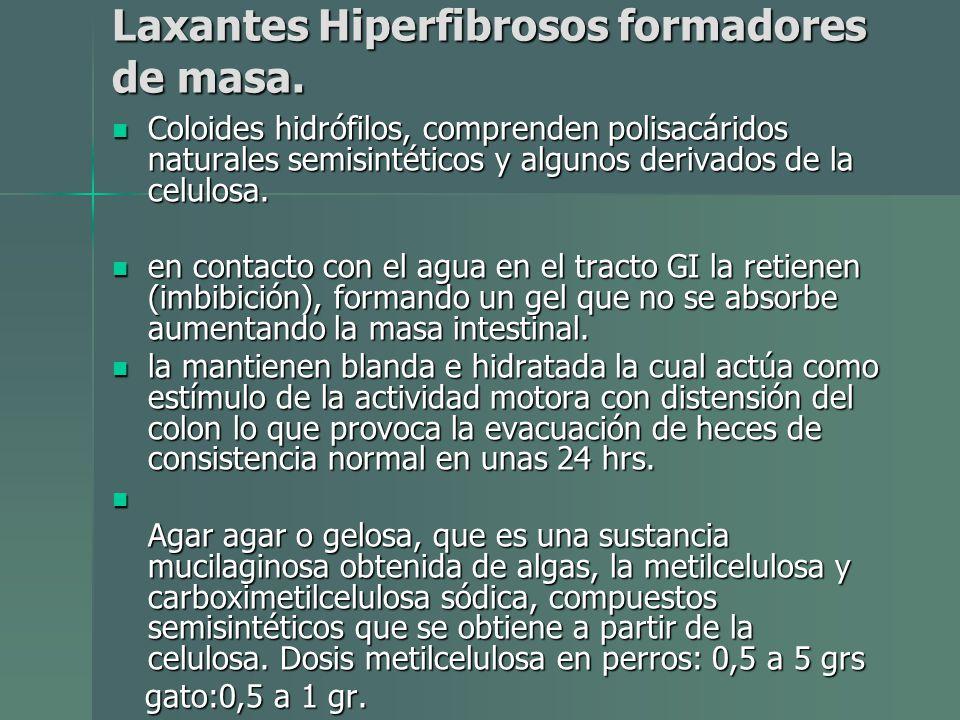 Laxantes Hiperfibrosos formadores de masa.