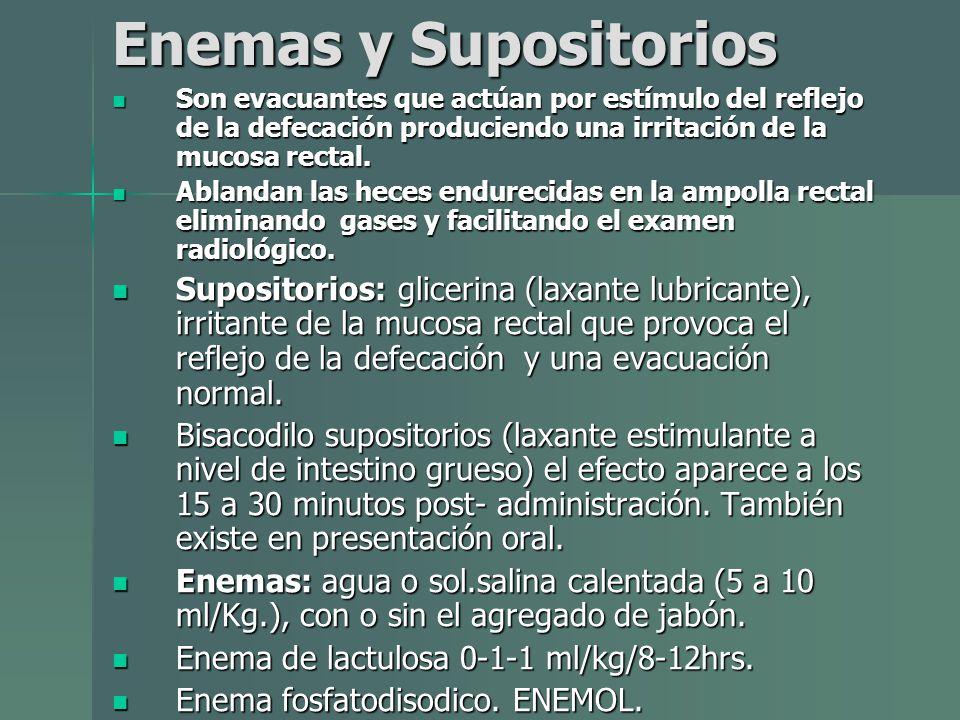 Enemas y Supositorios Son evacuantes que actúan por estímulo del reflejo de la defecación produciendo una irritación de la mucosa rectal.