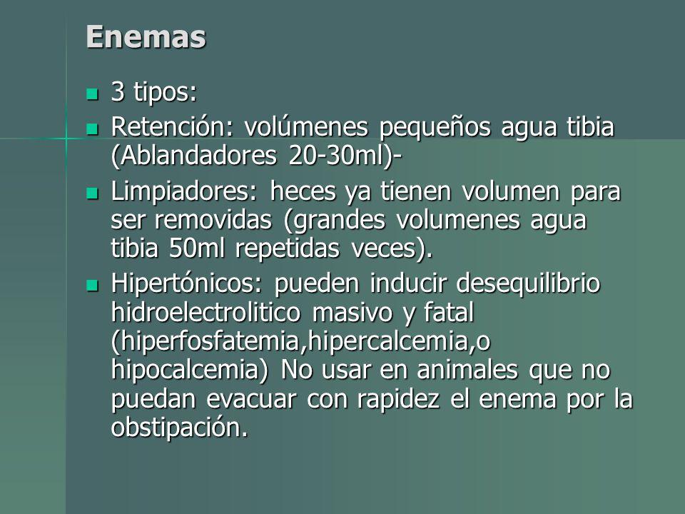 Enemas 3 tipos: Retención: volúmenes pequeños agua tibia (Ablandadores 20-30ml)-