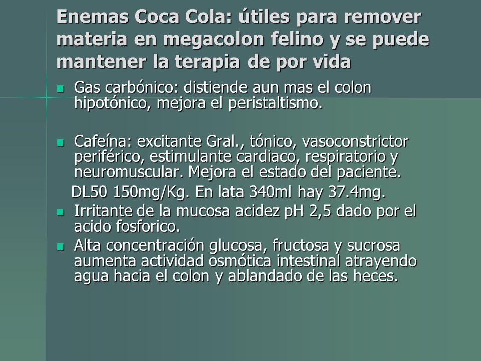 Enemas Coca Cola: útiles para remover materia en megacolon felino y se puede mantener la terapia de por vida