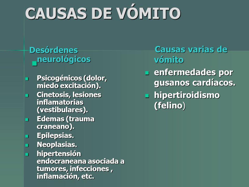 CAUSAS DE VÓMITO Causas varias de vómito